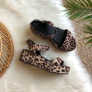 ASOS Platform Animal Print Double Strap Sandals 6